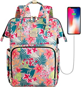 College School Backapck, Stylish Laptop Backapck Computer Bag for Women Girls, Water Repellent Doctor Teacher Laptop Bag Casual Daypack Fit 15.6 inch Laptop Notebook(Flower5)