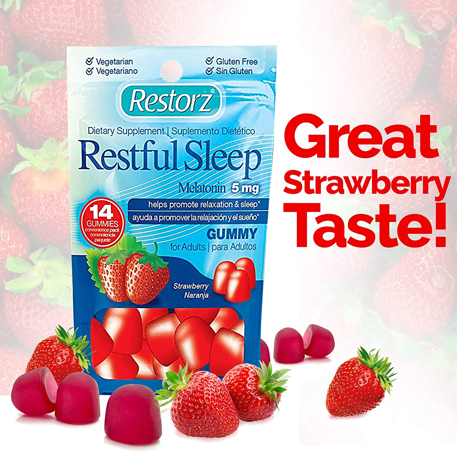 Amazon.com: Restful Sleep Gummies with Melatonin 5mg by Restorz | Natural 5mg Melatonin Gummies Supplement to Combat Insomnia | Sleep Aid for Relaxation and ...