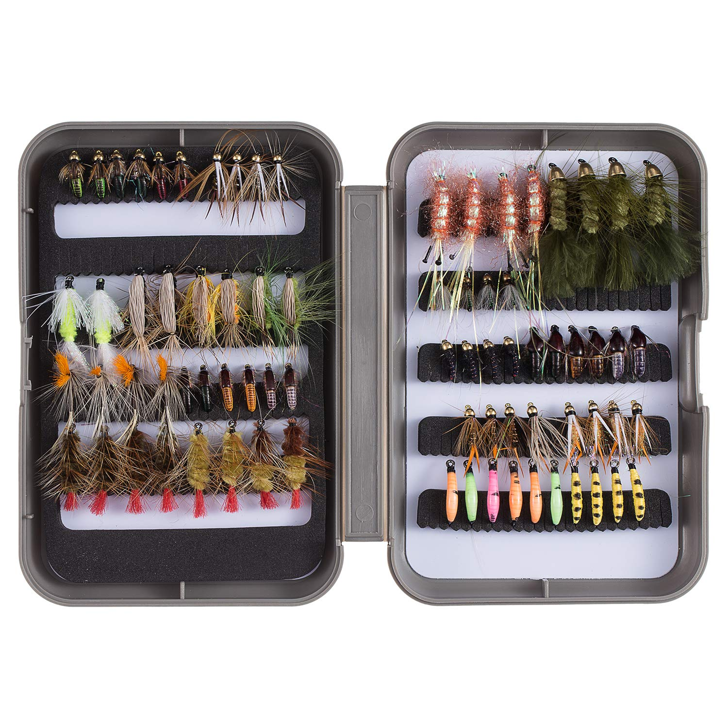 Bassdash Fly Fishing Flies Kit Fly Assortment Trout Fishing with Fly Box, 36/64/72/80/96pcs with Dry/Wet Flies, Nymphs, Streamers, Popper (76 pcs Assorted Flies kit with Fly Box) by Bassdash