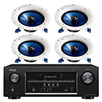 Denon 5.2 Channel Full 4K Ultra HD Bluetooth AV Home Theater Receiver + Yamaha Natural High-Performance Moisture Resistant 2-Way 110 watts Surround Sound in-Ceiling Speaker System (Set of 4)