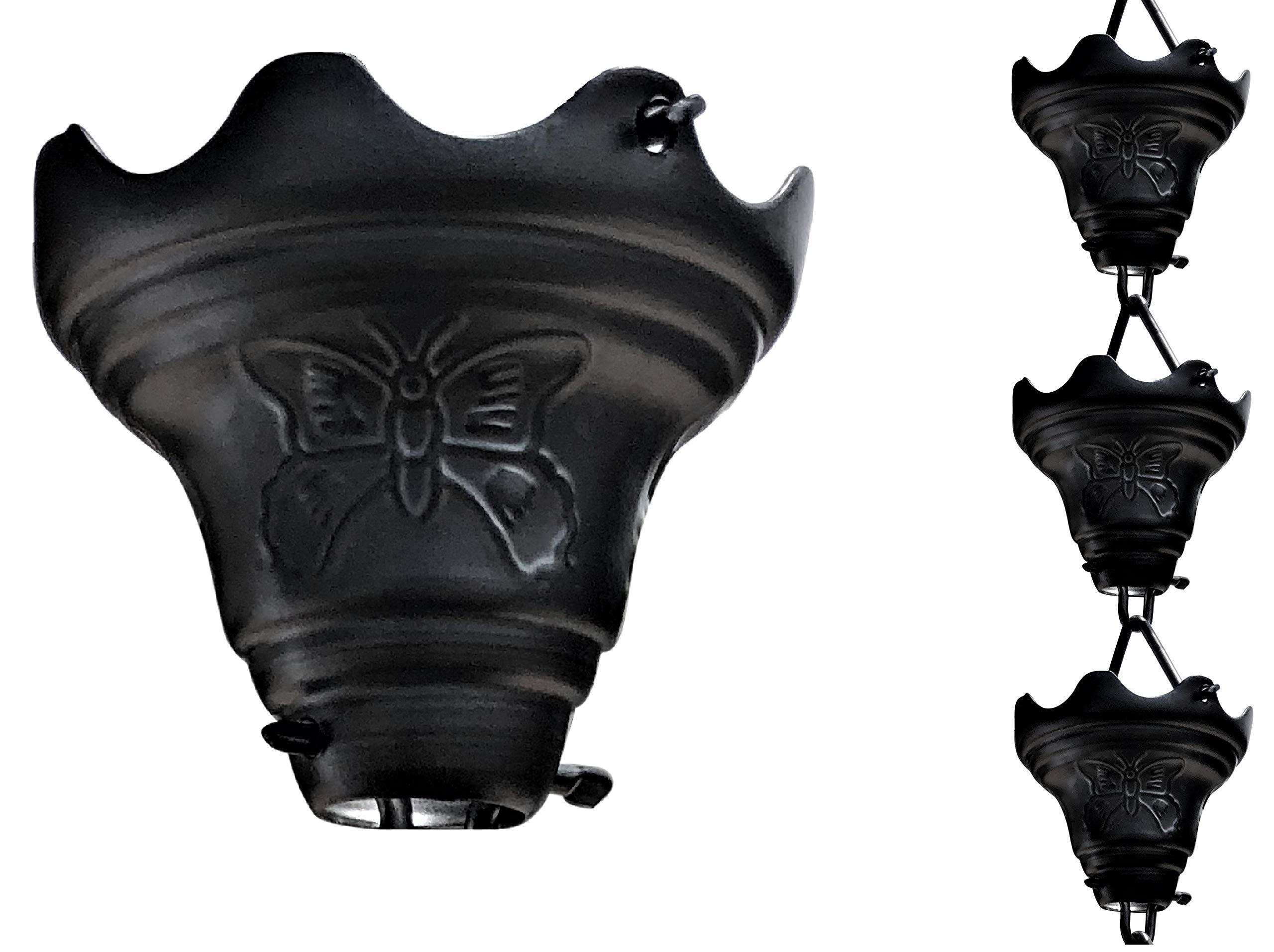 Monarch Rain Chains 18024 Aluminum Butterfly Rain Chain, 8-1/2 Feet Length, Powder Coated (Black)