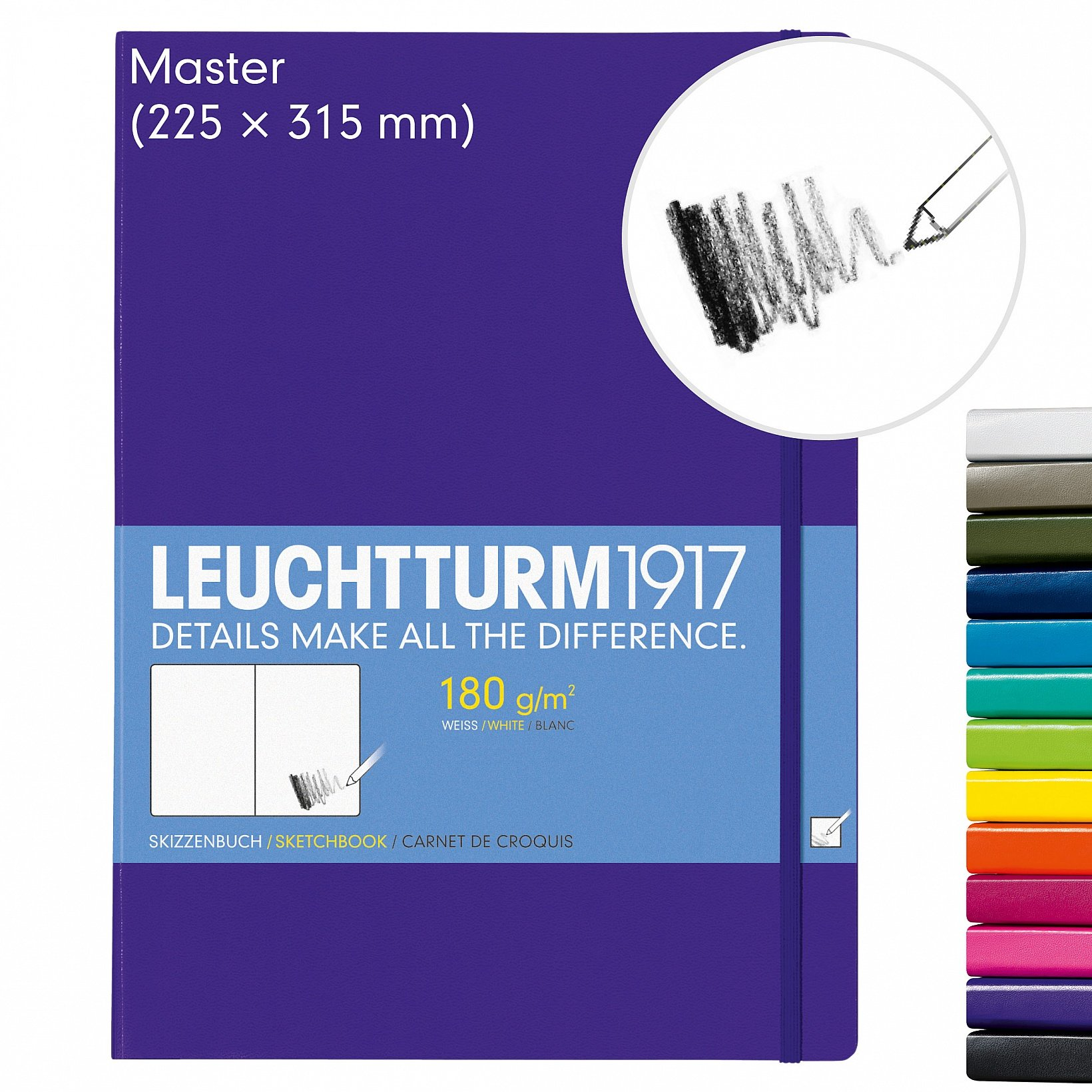 Leuchtturm1917 A4+ Master Hardcover Sketchbook, 8.85 X 12.5 inches, 96 Pages of 180g Brilliant White Plain Paper, Orange (345004) by LEUCHTTURM1917 (Image #2)