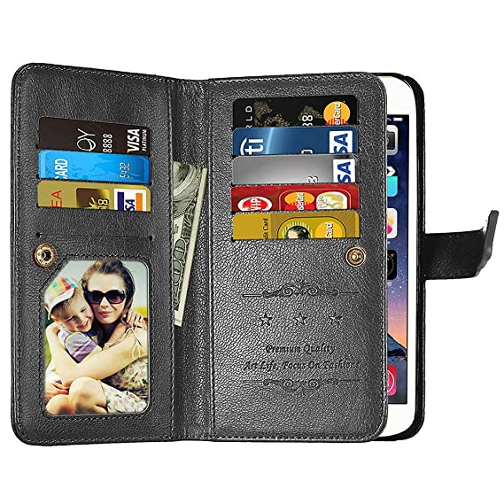 new concept 5fb15 b7e71 Galaxy J3 Emerge Wallet Case,J3 Prime,J3 Mission,J3 Eclipse,[9 Card Slots]  Leather Wallet Flip Folio [Stand Feature] [Magnetic Closure] Protective ...