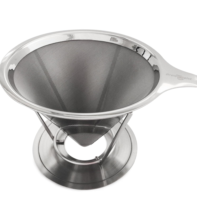 Il cono pour-over per caffè della Brewologist, Il coffee dripper intelligente: filtri per il caffè inossidabili e riutilizzabili, e erogatore con supporto pour-over per il caffè (2 dosi) The Brewologist SYNCHKG086058