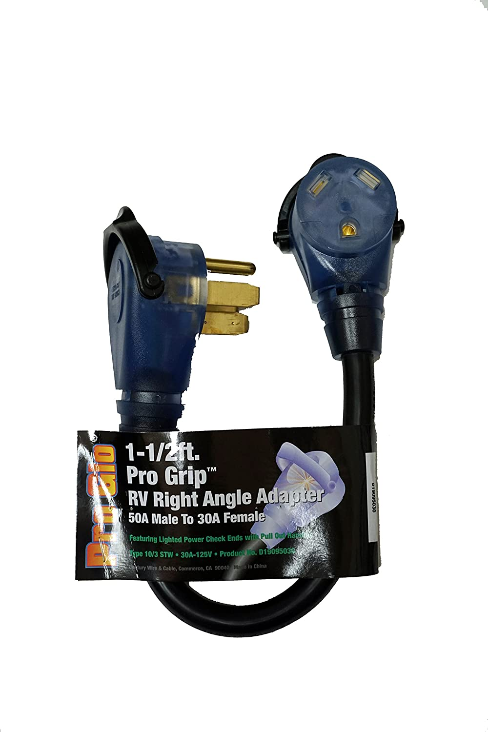 Century Heavy Duty 15M/30F 18 inch Dogbone Electrical Adapter with Pro Grip Handle and Pro Glo Lighted Ends
