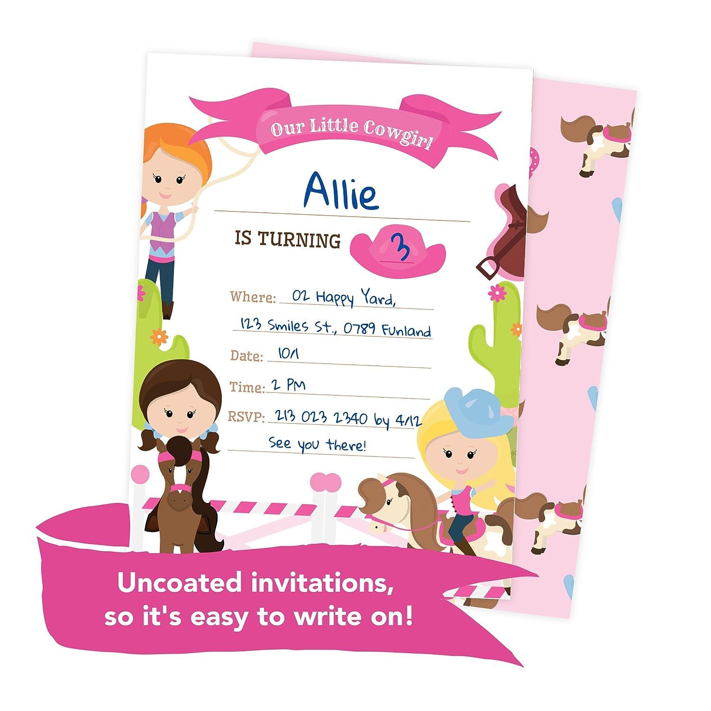 Amazon.com: Cowgirl Cow Girl Style 3 Happy Birthday Invitations ...