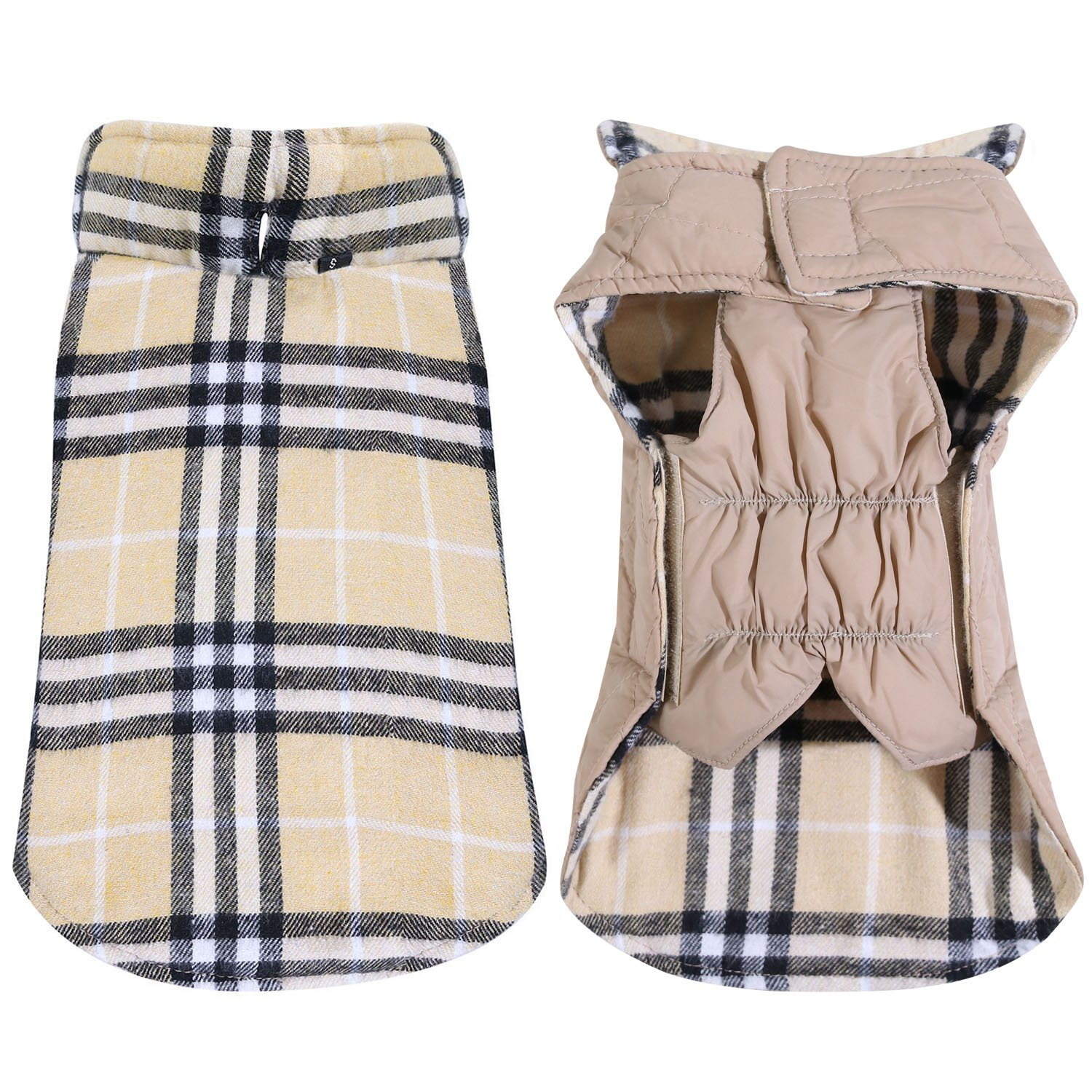 TPYQdirect Dog Jacket Waterproof Coat Windproof Pet Vest Warm Clothes Reversible British Style Plaid Winter Coats Cold Weather Jackets Sweater for Small Medium Large Dogs, Beige L