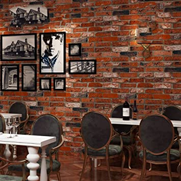 Dhg Retro Vintage 3d Faux Ziegelstein Ziegelstein Tapeten Cafe Stab