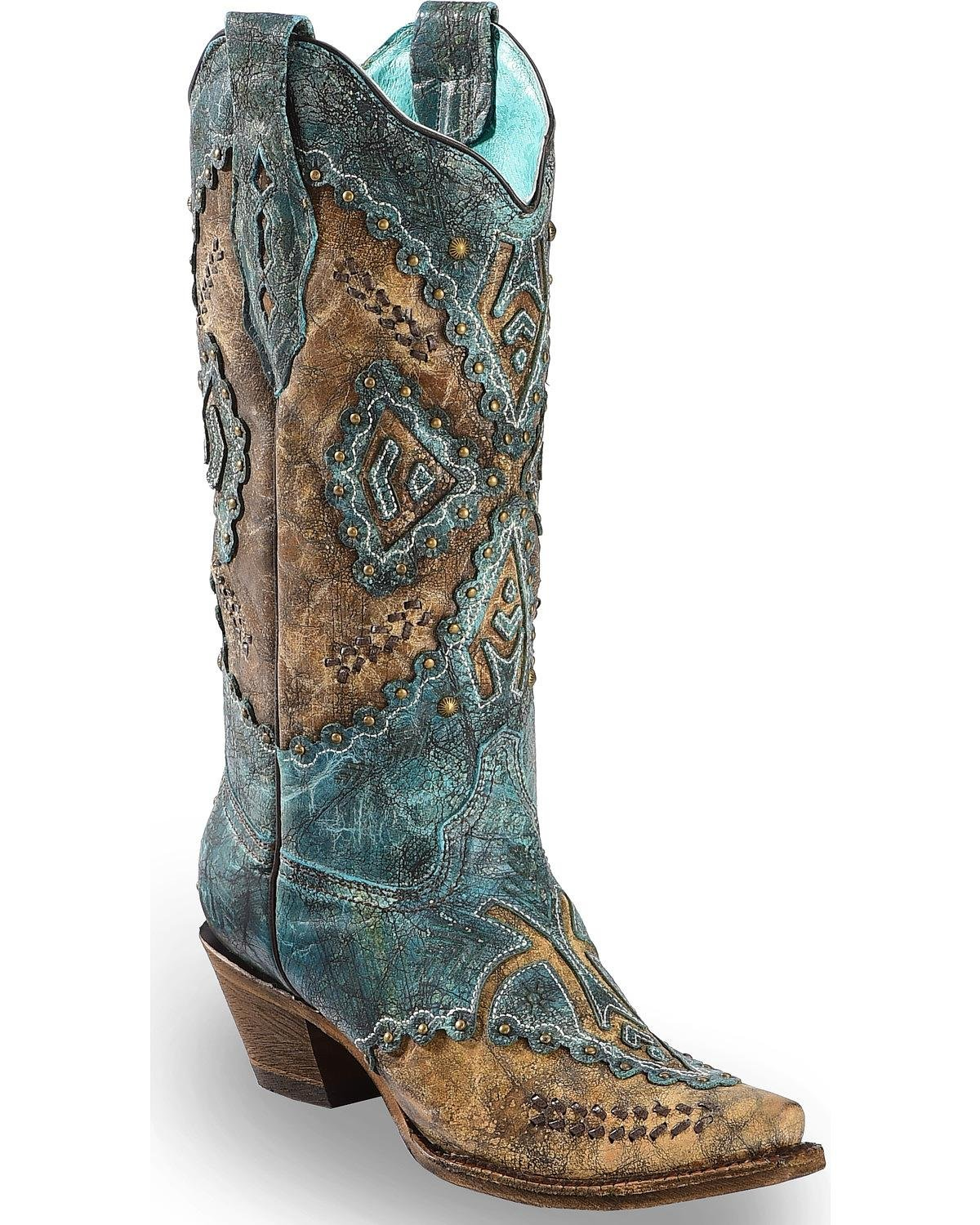 CORRAL Women's Turquoise Cowhide Inlay Cowgirl Boot Snip Toe Turquoise 6 M