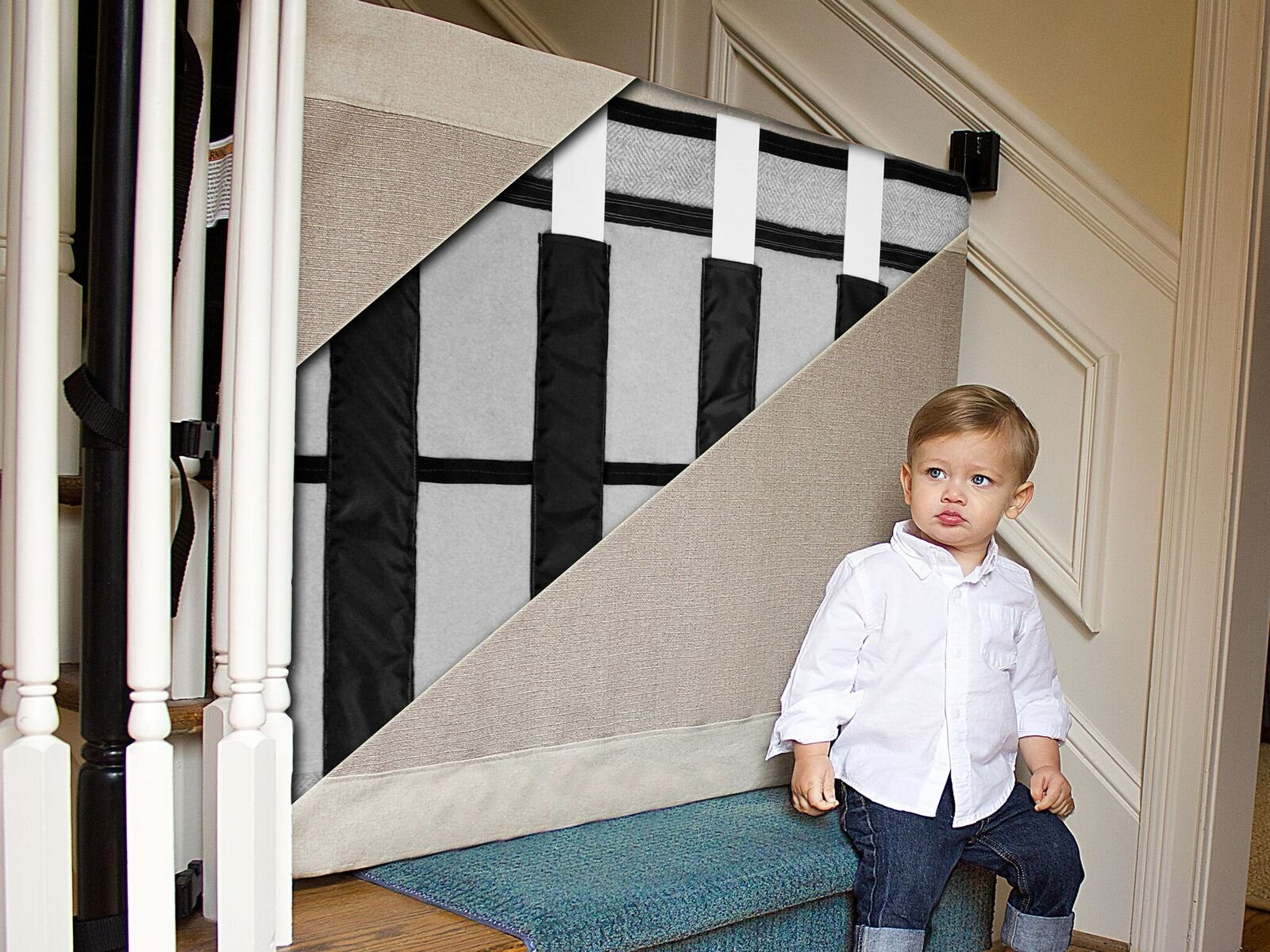 The Stair Barrier Baby and Pet Gate – Wall-to-Banister- Retractable Fabric Safety Gate Wide and Regular Sizes - Made in the USA – Grey by THE STAIR BARRIER KEEPING CHILDREN AND PETS OFF THE STAIRS (Image #5)