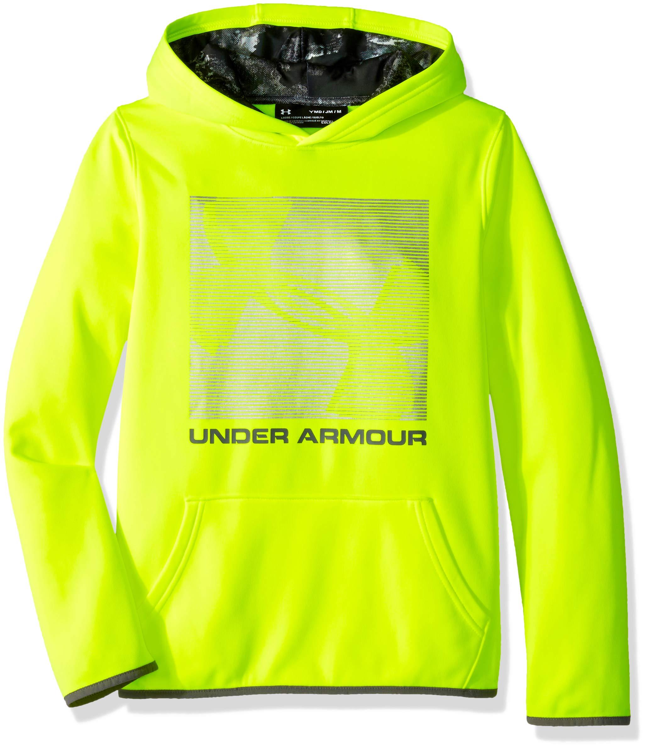 Under Armour Boys Armour Fleece Logo Hoodie, High-Vis Yellow (731)/Graphite, Youth Medium