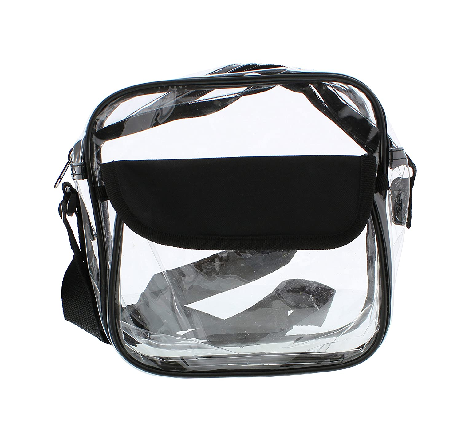 "Clear Purse, Large 12"" x 12"" x 6"", NFL Stadium Approved Bag with Zipper & Comfortable Shoulder Strap Redneck Convent"