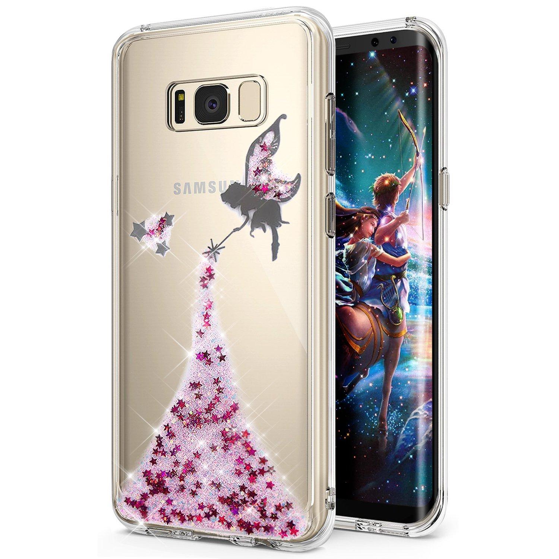 Galaxy S8 Caso, Galaxy S8 Funda, ikasus Crystal Clear Bling Glitter Sparkle á ngel niñ a Star Ultra Slim Flexible Suave de Silicona marco TPU Bumper caucho funda protectora para Samsung Galaxy S8 Angel:Silver Galaxy S8Funda