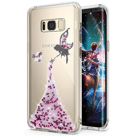 Funda Galaxy S8,Carcasa Galaxy S8,ikasus Brillante brillo estrella ángel Angel girl chica patrón Transparente TPU Silicona Fundas Skin Cover Carcasa ...