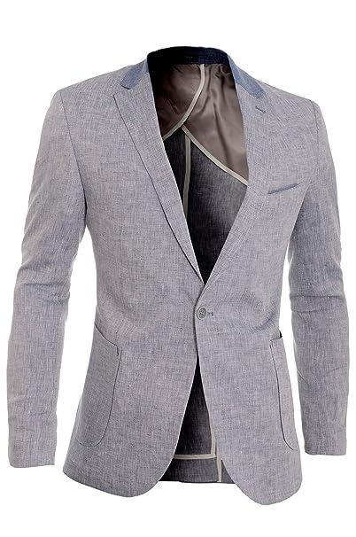 D&R Fashion Cipo & Baxx Chaqueta de lino hombre Casual Formal Parches de codo Slim Verano: Amazon.es: Ropa y accesorios