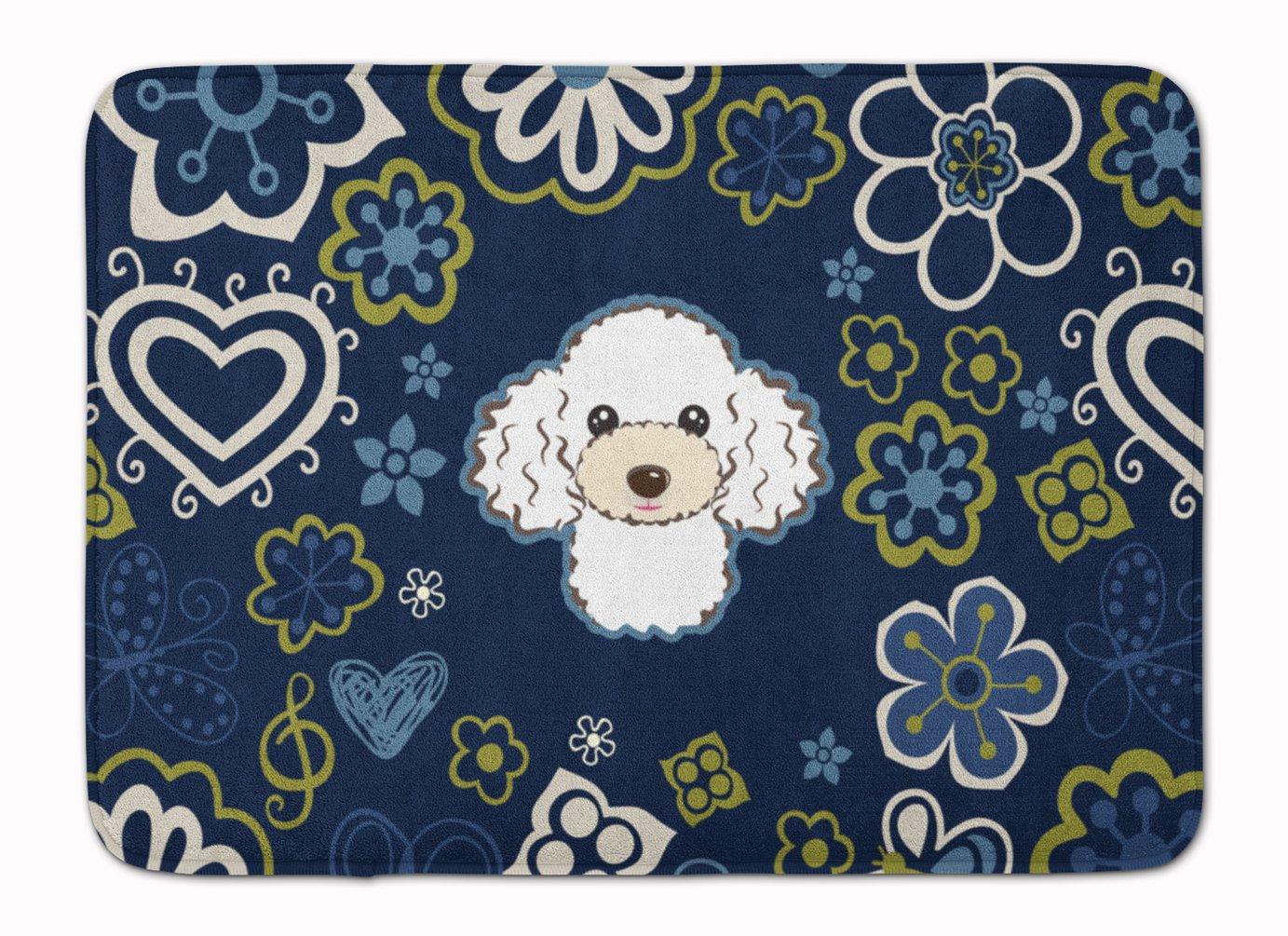 Caroline's Treasures Blue Flowers White Poodle Floor Mat 19' x 27' Multicolor