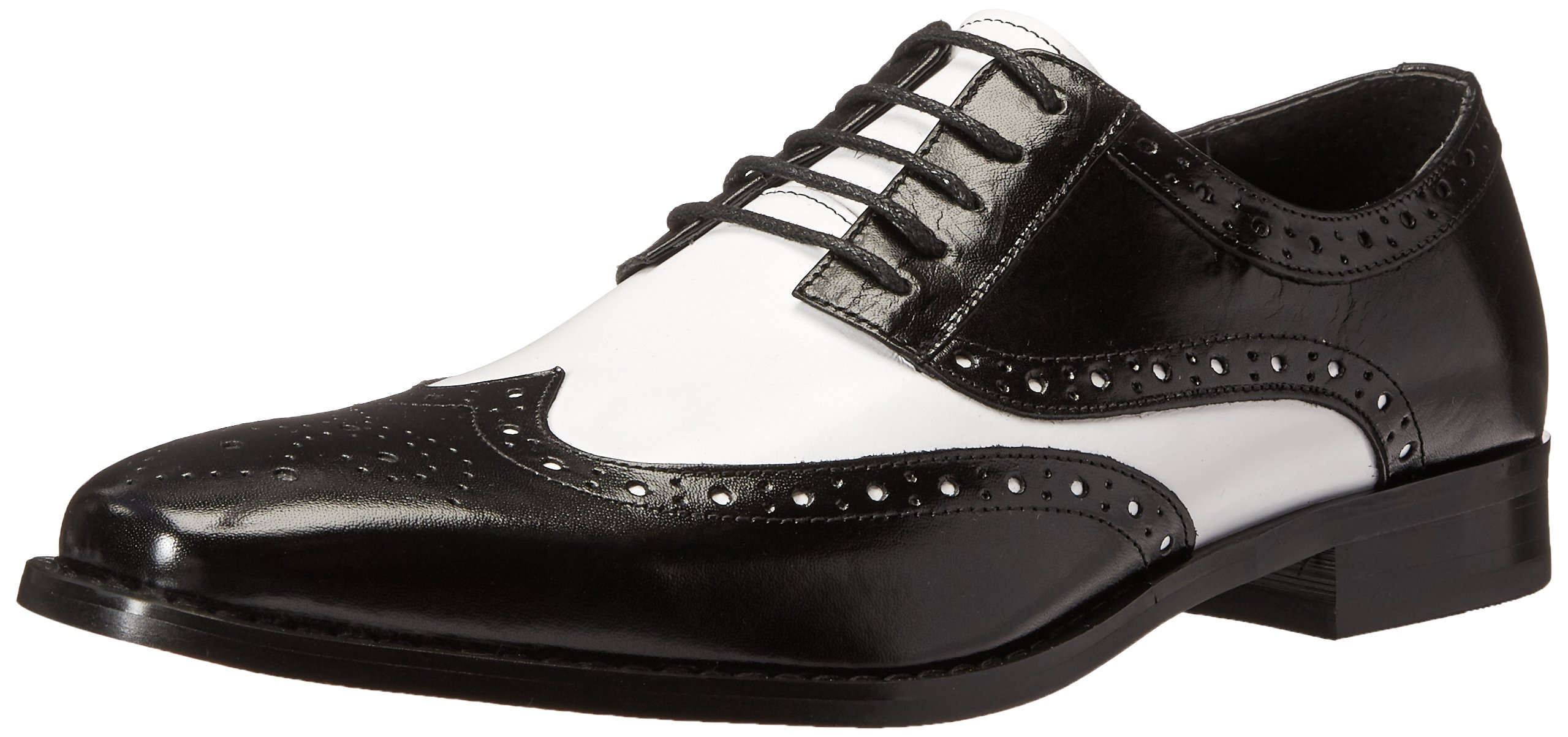 STACY ADAMS Men's Tinsley-Wingtip Oxford, Black/White, 7.5 M US