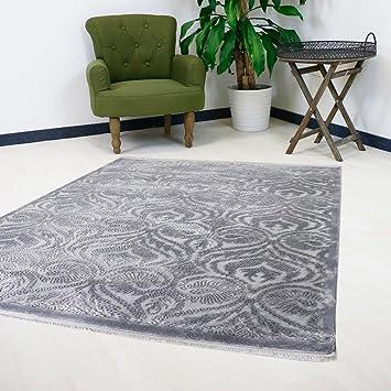 Teppich Grau Vintage Ornament Design Versace Wohnzimmer Velour Mit Öko Tex  (200 X 290