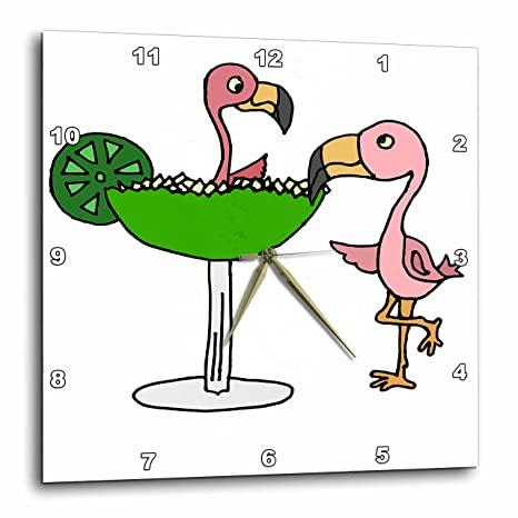 All Smiles Art at the Beach - Funny Pink Flamingo Bird with Lime Margarita - 10x10 Wall Clock (dpp_240626_1)