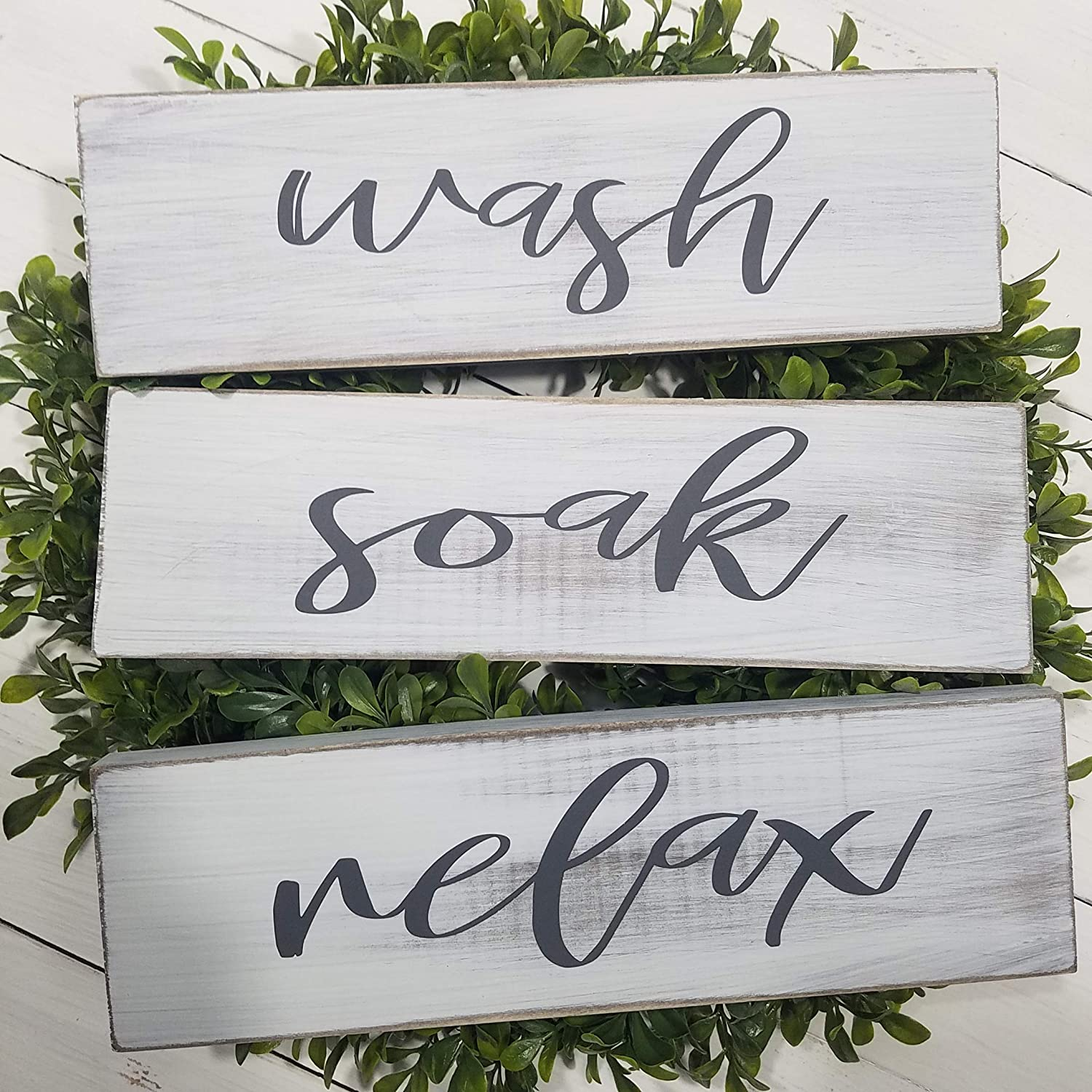 Get Naked Bathroom Decor Sanded Distressed Farmhouse Sign