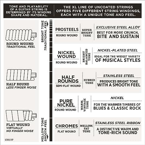 DAddario EXL140-10P, cuerdas con entorchado en níquel para guitarra eléctrica, superiores blandas/inferiores duras, 10-52, 10 juegos: Amazon.es: ...