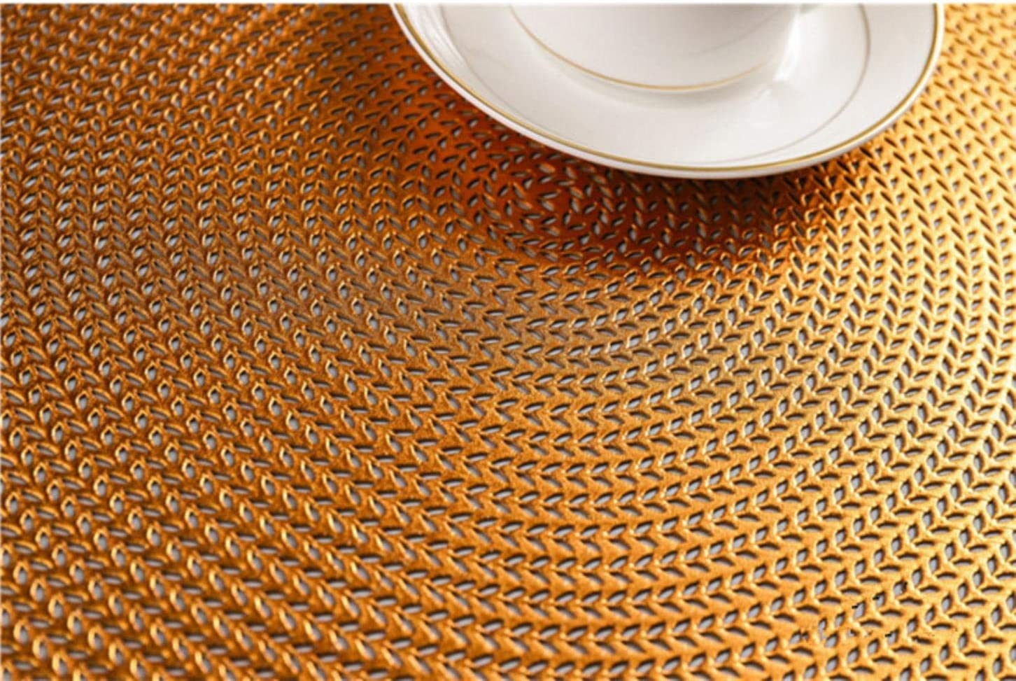 ZYR Placemat Kitchen Table Mat Christmas Restaurant Round Anti-scalding Insulation Table Mat Steak Pad Stand Mug,F,38CM A