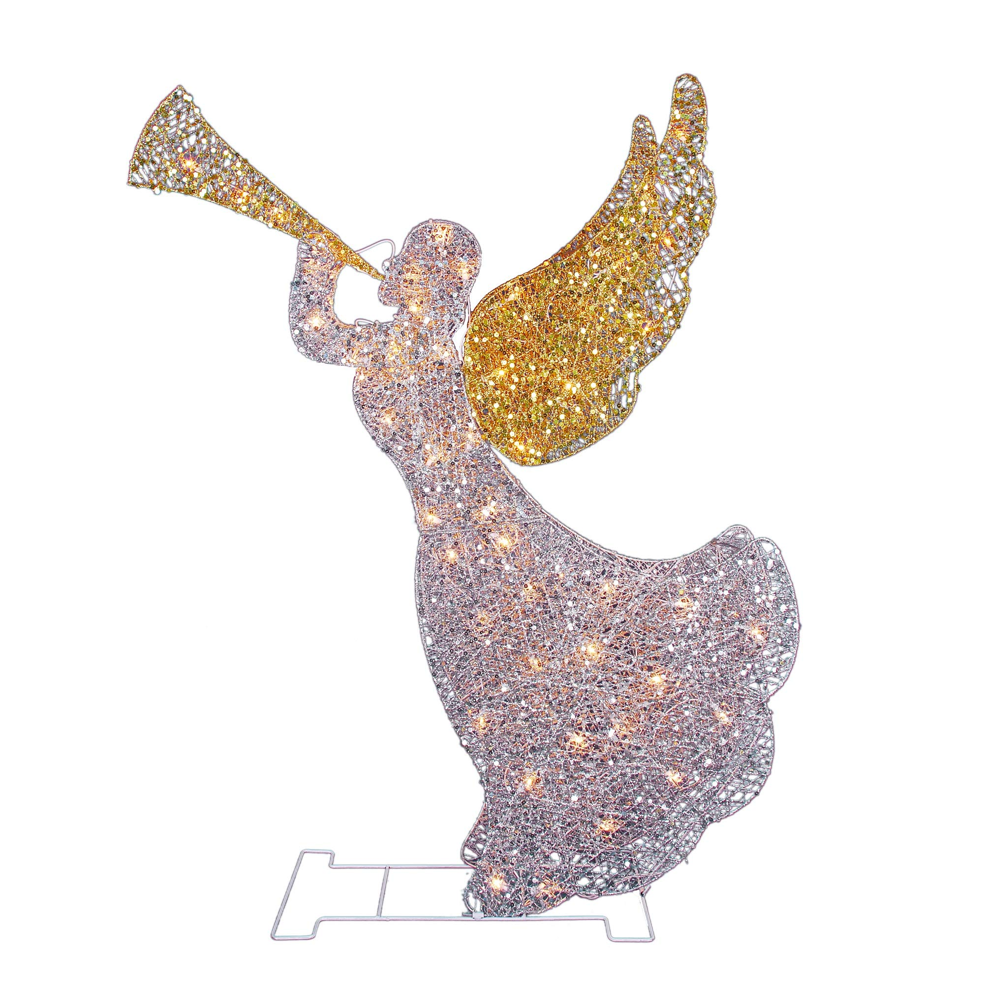 Northlight 46'' Lighted Glitter Sequin 3-D Angel with Trumpet Christmas Outdoor Decoration - Clear Lights