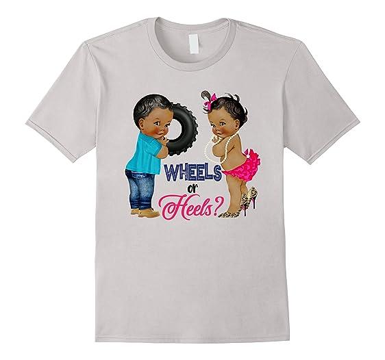 Amazon Ethnic Babies Wheels Or Heels Baby Shower T Shirt Clothing