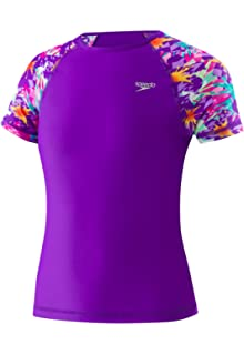 b10bacefab Amazon.com: Speedo Big Girls' UV 50+ Short Sleeve Rashguard Shirt ...