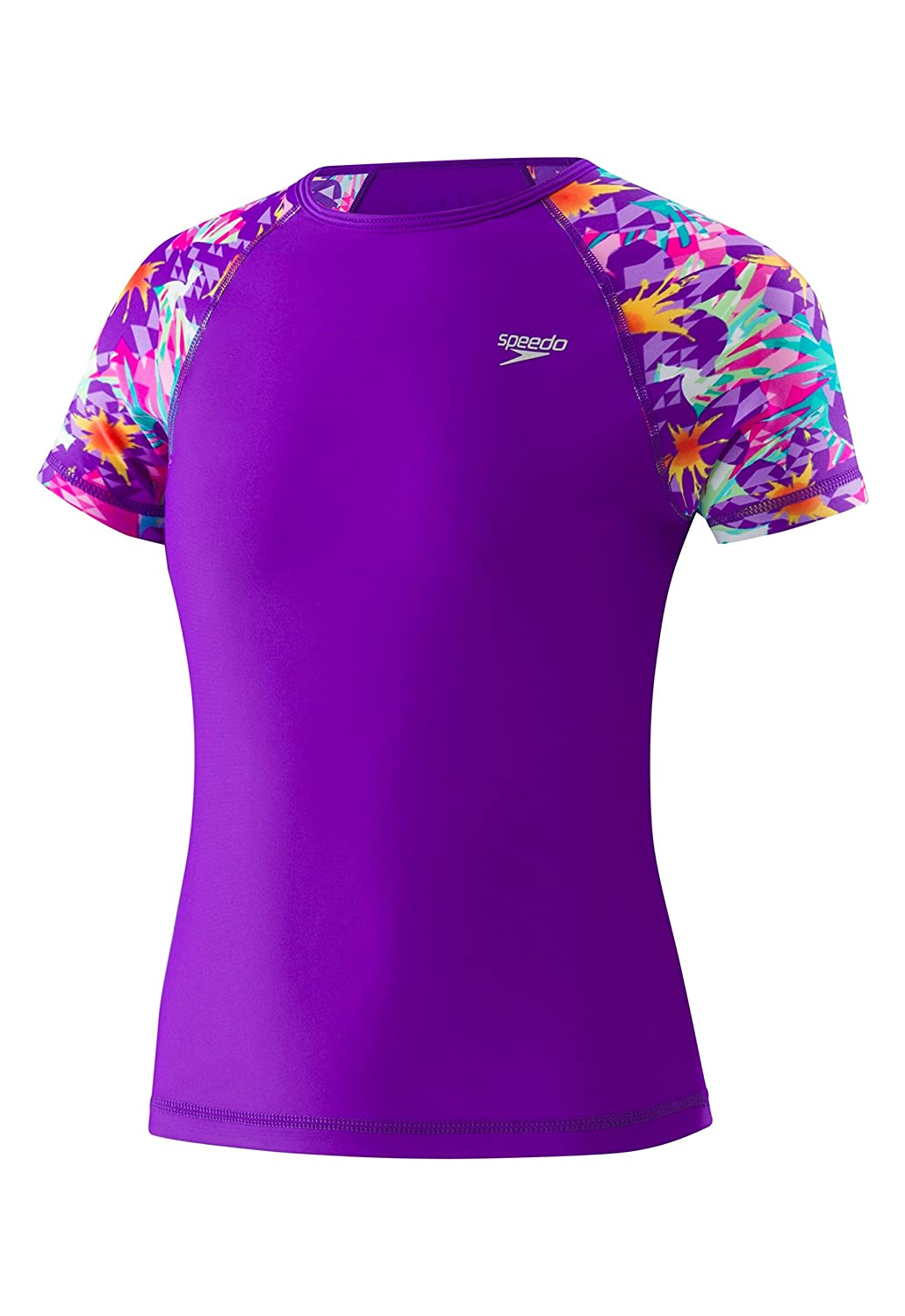 Speedo Girls Printed Short Sleeve Rash Guard Shirt 7714724-P