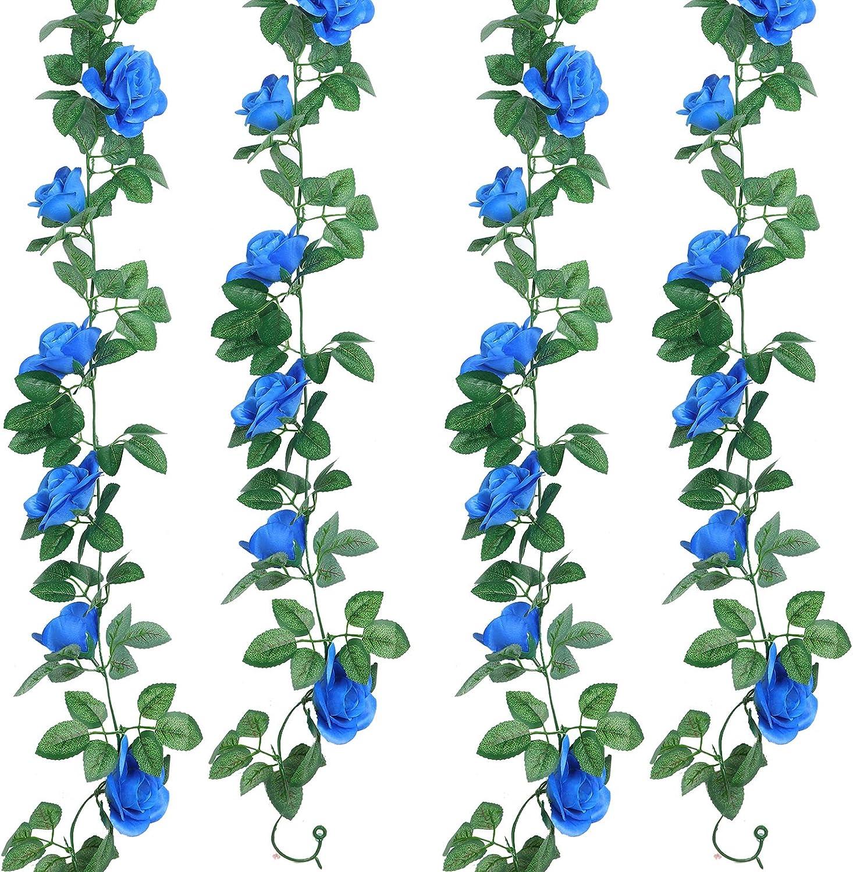 2 Pieces Artificial Rose Garlands Rose Vines Leaves Hanging Garlands Fake Rose Flower Vine Home Wedding Party Decor, 14.4 ft (Royal Blue)