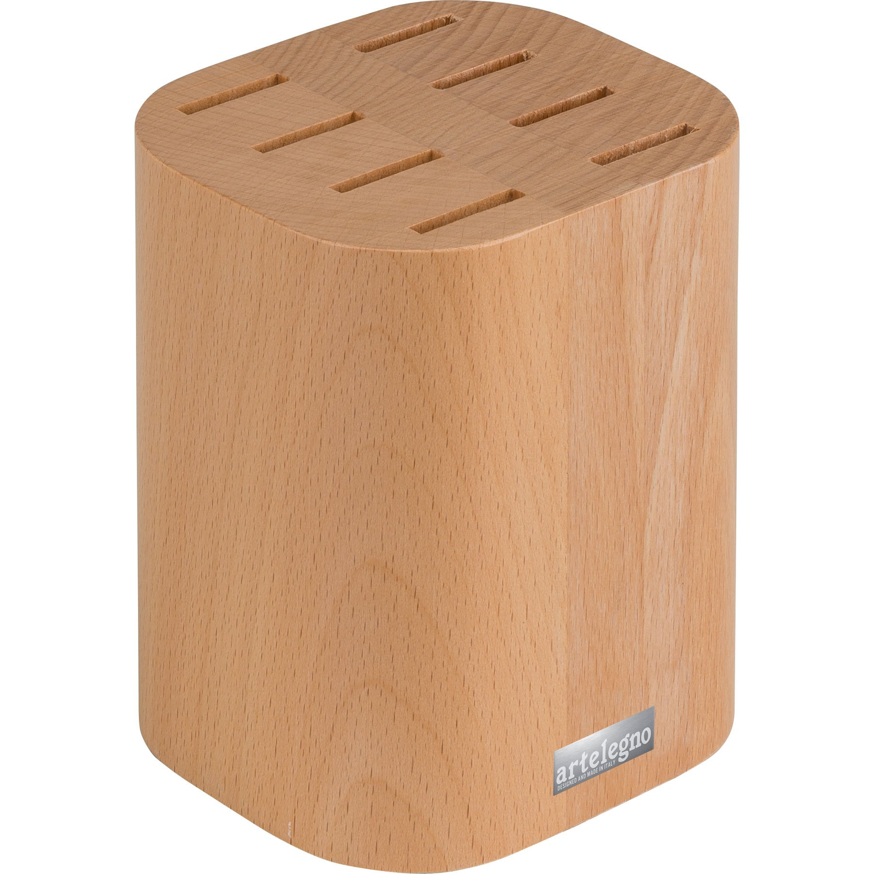 Artelegno 16 8-Piece Steak Knife Block, Solid Beech Wood Natural Lacquer Finish