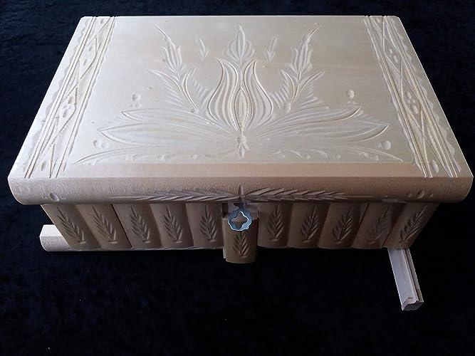 Caja gigante natural puzzle de madera más grande del rompecabezas caja mágica secreta, caja de almacenaje tallada especial de joyería, cajón ocultado, caja del baratija: Amazon.es: Handmade