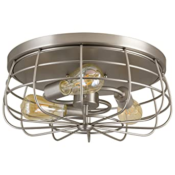 Revel gage 15 industrial 3 light cage flush mount ceiling light revel gage 15quot industrial 3 light cage flush mount ceiling light brushed nickel aloadofball Gallery