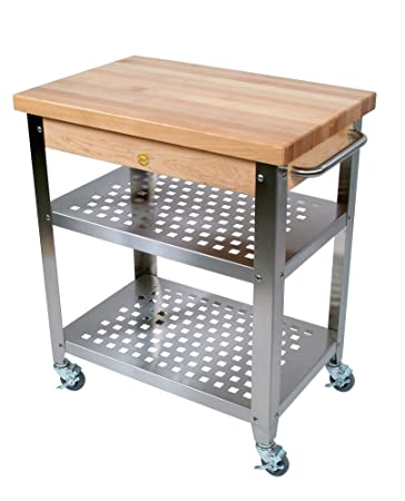 Ordinaire John Boos Stainless Steel Kitchen Cart With 30 By 20 Inch Maple Top And  Drawer,