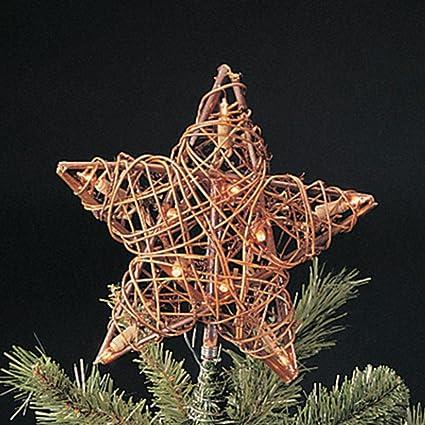 natural rattan 3d star christmas tree topper clear lights by kurt adler