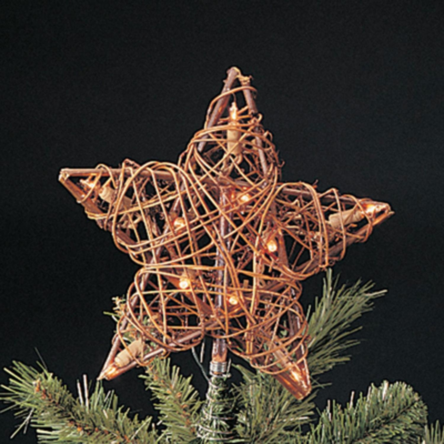 KSA 9'' Eco Country Natural Brown Rattan Star Christmas Tree Topper - Clear Lights