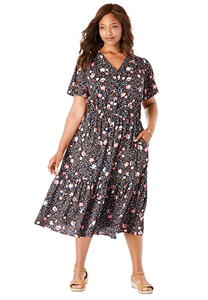 Woman Within Women\'s Plus Size Flutter Sleeve Button Front ...