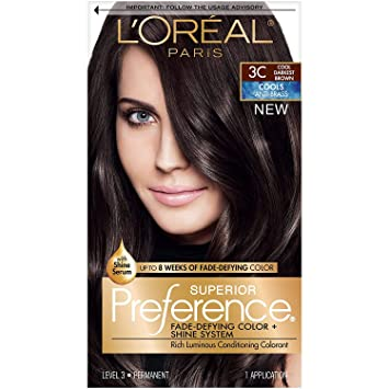 Amazon Com L Oreal Paris Superior Preference Fade Defying Shine Permanent Hair Color 3c Cool Darkest Brown Pack Of 1 Hair Dye Beauty
