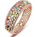 "Qianse ♚Party Queen♚ Rose Gold Plated 7.5"" Bangle Bracelet with Multicolor Austrian Preciosa Crystals"