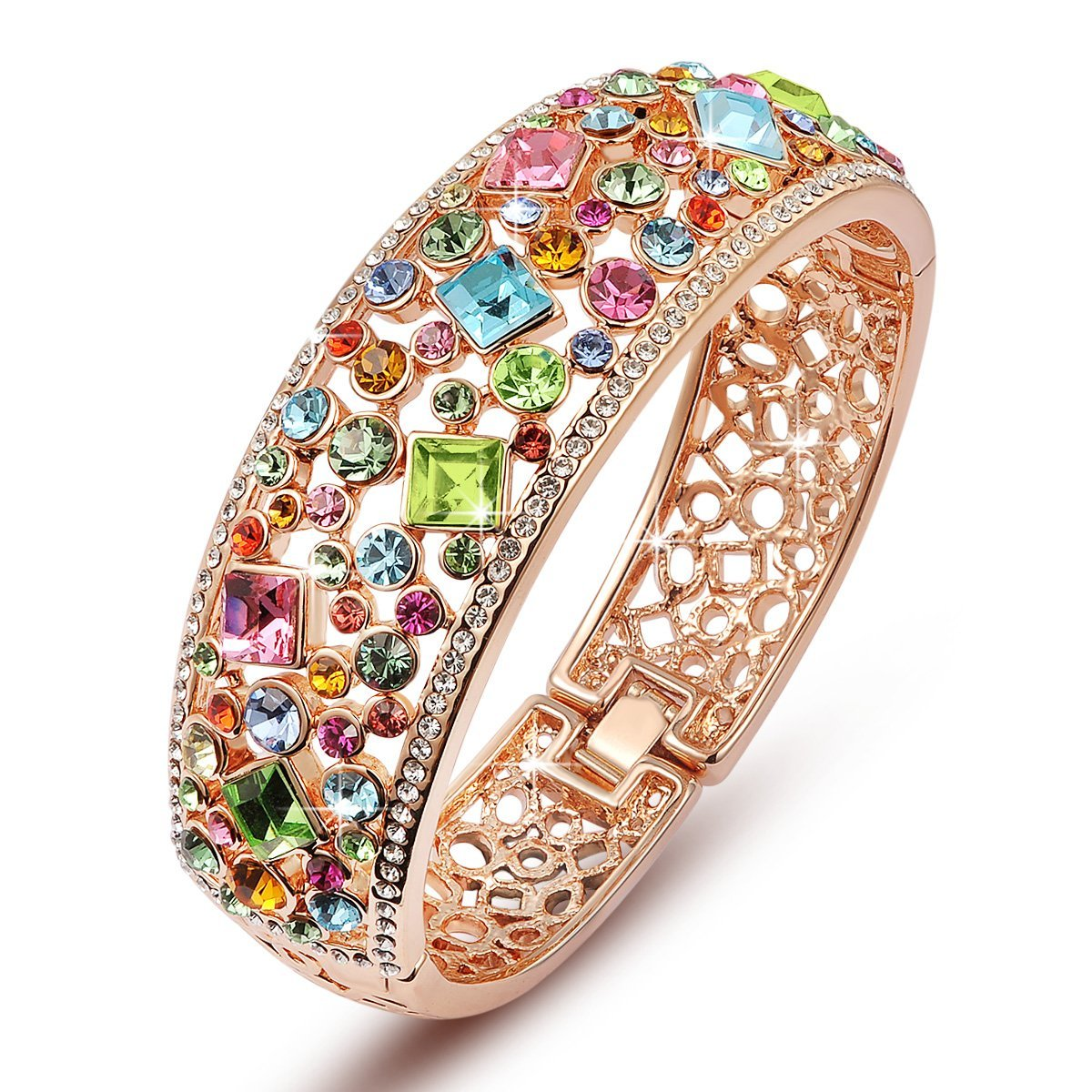 QIANSE ''Party Queen Rose Gold Plated Bangle Bracelets for Women Multicolor Austrian Crystals Bracelet Jewelry for Women Birthday Gifts for Women Gifts for Mom Grandma Sister Friend Gifts for Her