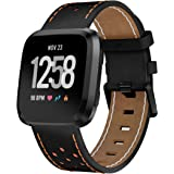 KisFace Fitbit Versa Replacement Leather Bands, Fitbit Accessories Wristbands Flower Print Series Strap for Fitbit Versa