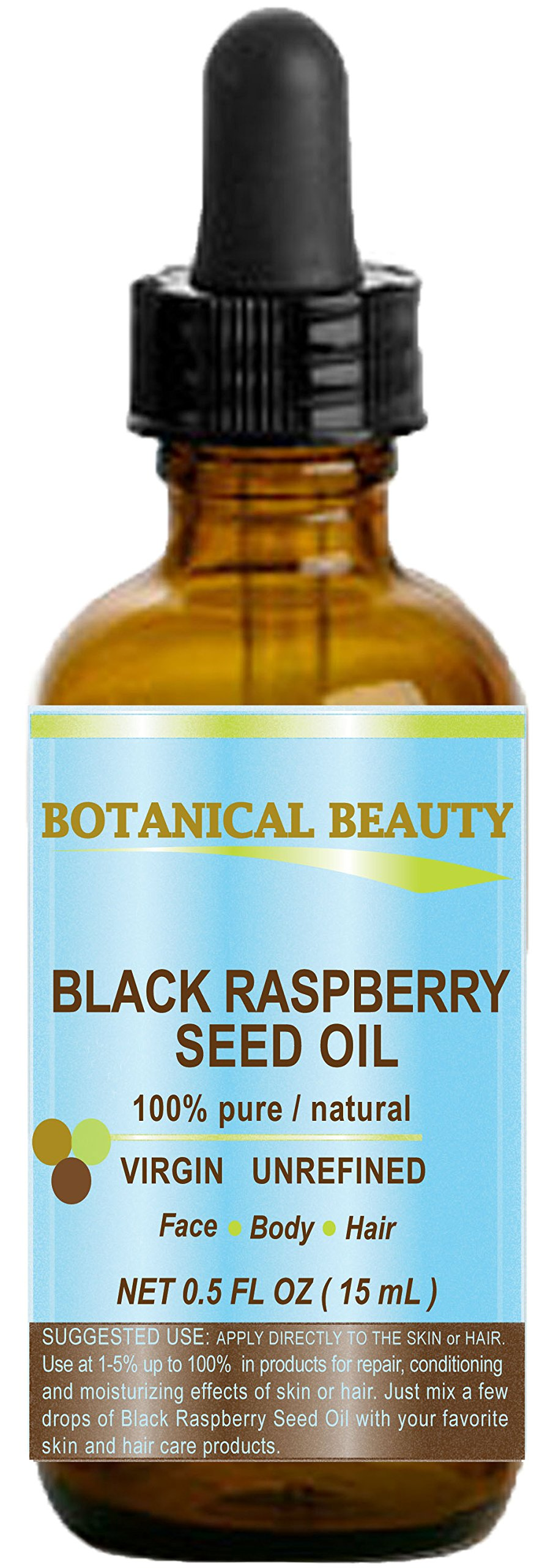 "BLACK RASPBERRY SEED OIL. 100% Pure / Natural / Undiluted / Virgin / Unrefined / Cold Pressed Carrier oil. 0.5 Fl.oz.- 15 ml. For Skin, Hair, Lip and Nail Care. ""One of the highest antioxidants, rich in vitamin A and E, Omega 3, 6 and 9 Essential Fatty Acids"". by Botanical Beauty"