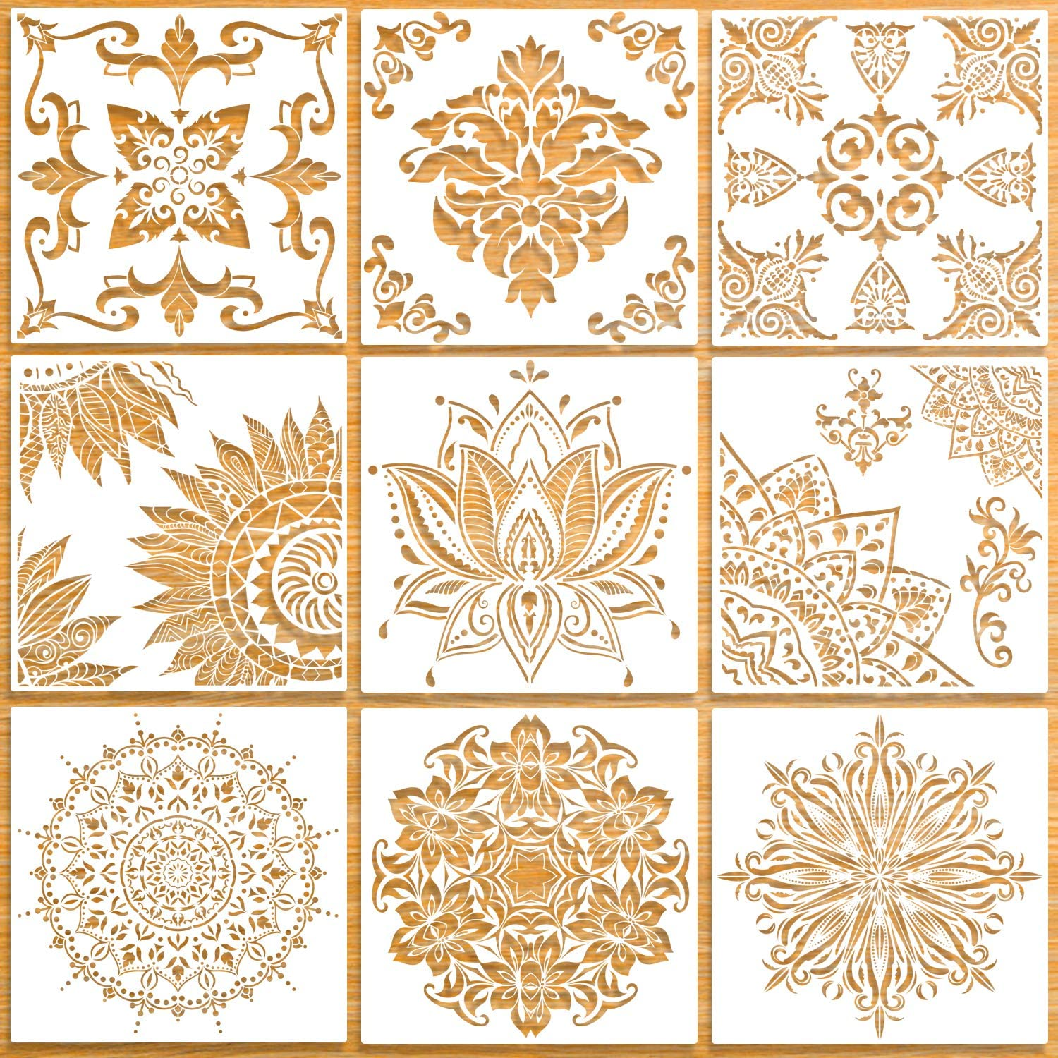 9 Pack (12x12 Inch) Large Reusable Stencil Mandala Stencil Laser Cut Painting Template for Floor Wall Tile Fabric Furniture Stencils Painting