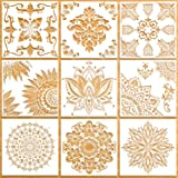 9 Pack (12x12 Inch) Large Reusable Stencil Mandala Stencil Laser Cut Painting Template for Floor Wall Tile Fabric…