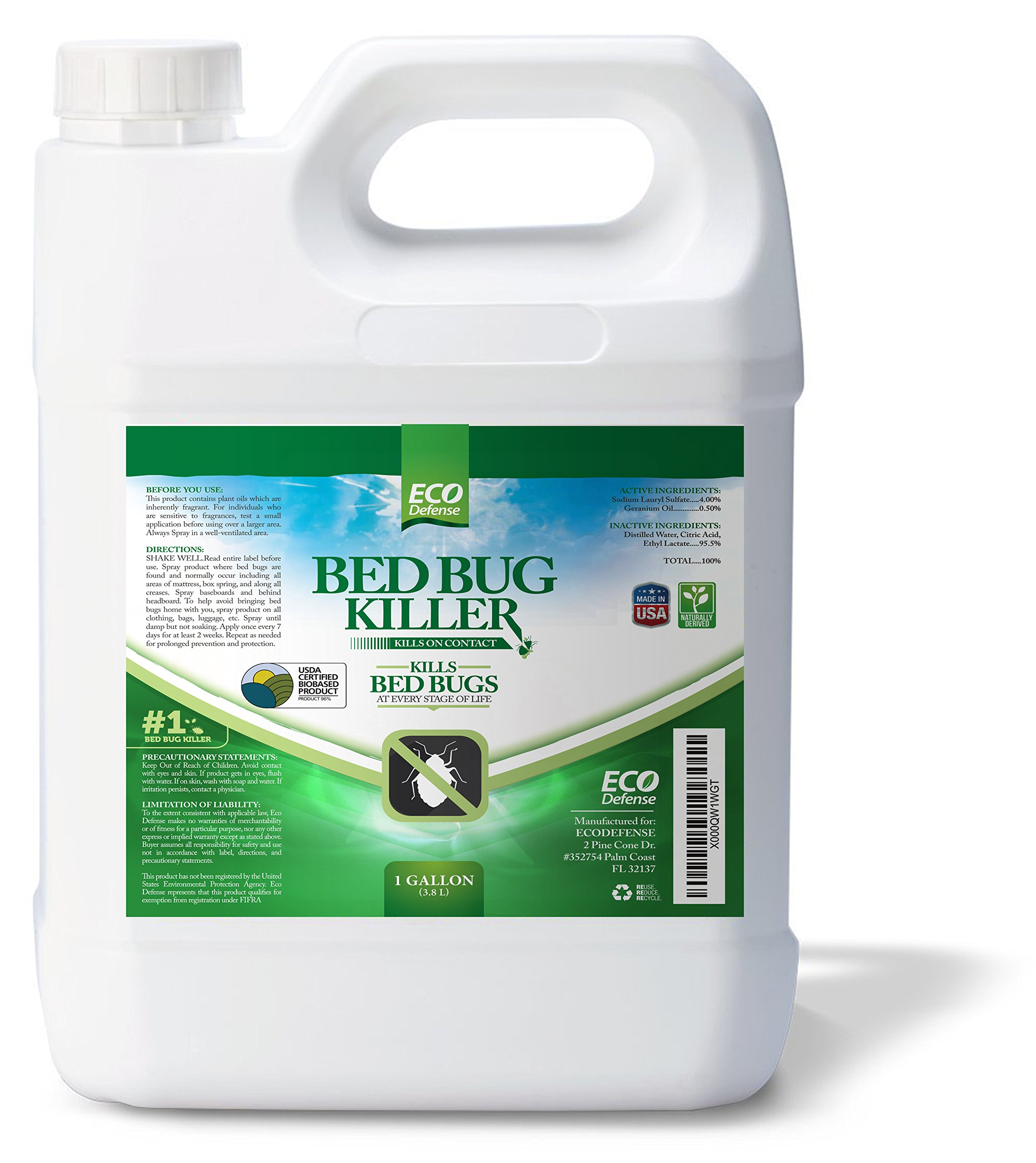 Eco Defense Bed Bug Killer, Natural Organic Formula Fastest (1 Gallon) Review