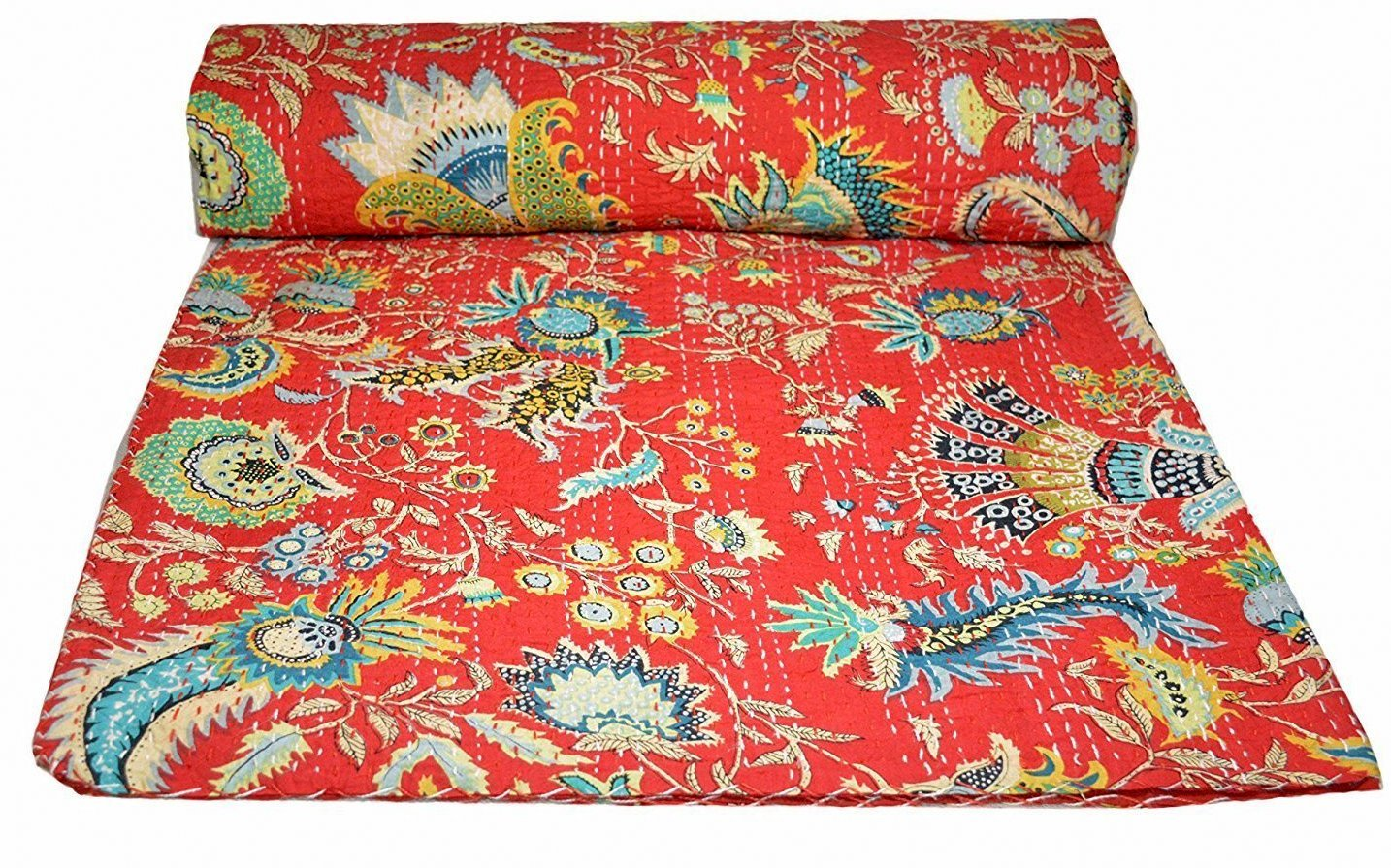 Kiara Indian Handmade Cotton Quilts Reversible Kantha Paisley Pattern Floral Print Bedspreads /& Coverlets Stitch Throw Twin Size//Queen Size Navy Blue, Twin