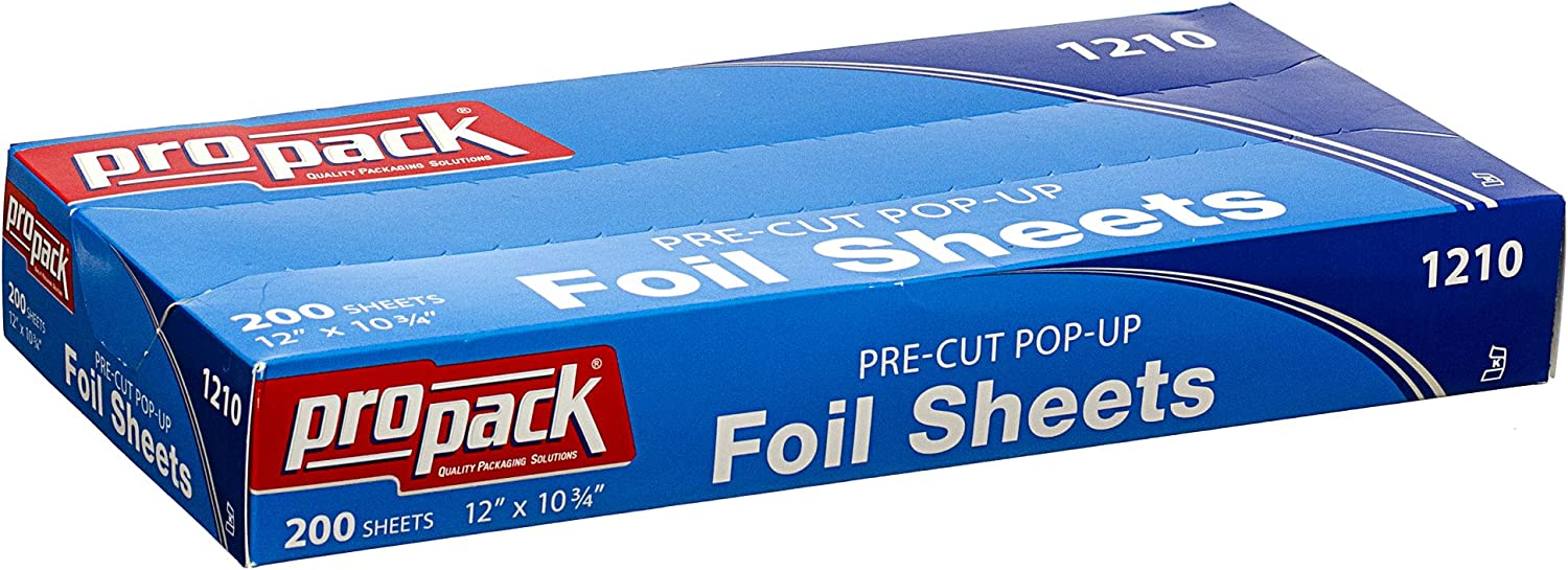 Propack Aluminum Siver Foil Precut Pop up Sheets (12 x 10.75, 200 Sheets) Silver Paper Wrap, Great For Cooking Baking Roasting Or BBQ, Home Or Commercial, Keeps Food Fresh And Prevents Freezer Burn