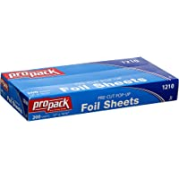 Propack Aluminum Siver Foil Precut Pop up Sheets (12 x 10.75, 200 Sheets) Silver Paper Wrap, Great For Cooking Baking…