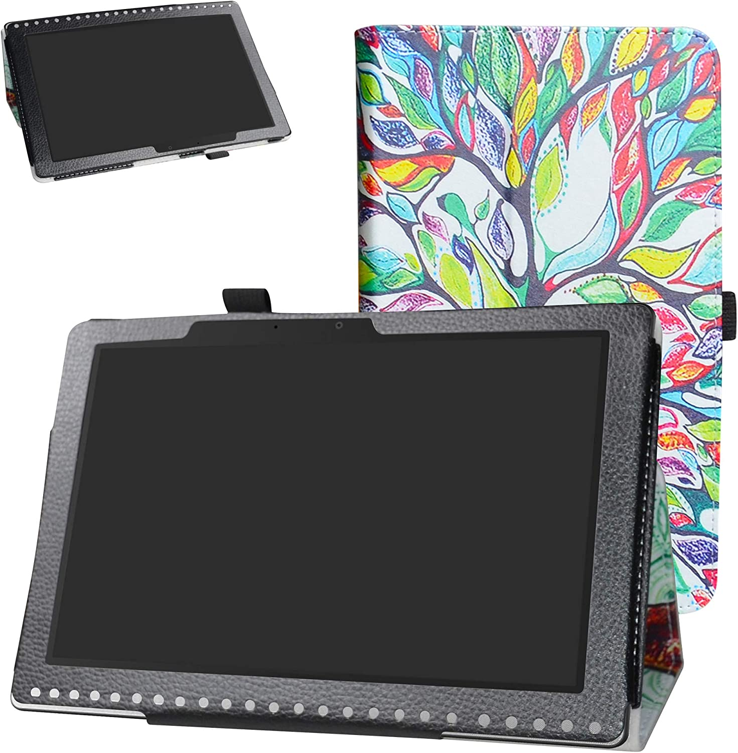Acer Iconia One 10 B3-A50 Case,Bige PU Leather Folio 2-Folding Stand Cover for Acer Iconia One 10 B3-A50 10.1 inch 2018 Tablet (Not fit Acer A3-A50),Love Tree